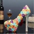 2016 novas Mulheres da moda sapatos feitos à mão cor do laço flor pegajosa diamante Mulheres sapatos de casamento da noiva sapatos de salto alto Mulheres bombas