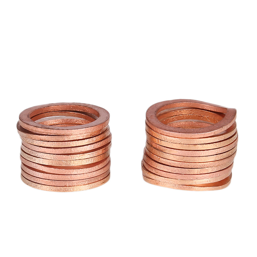20PCS/Pack Gasket Washers Sump Plug Solid Copper Oil Seal Fittings 18x24x1.5mm Professional Anti-Crush Accessories Hardware Kits