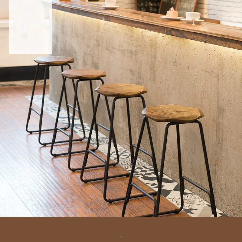 Home Stool Creative Iron Bar Chair Modern Concise Solid Wooden Stool Retro Stool 39x39x66.5cm