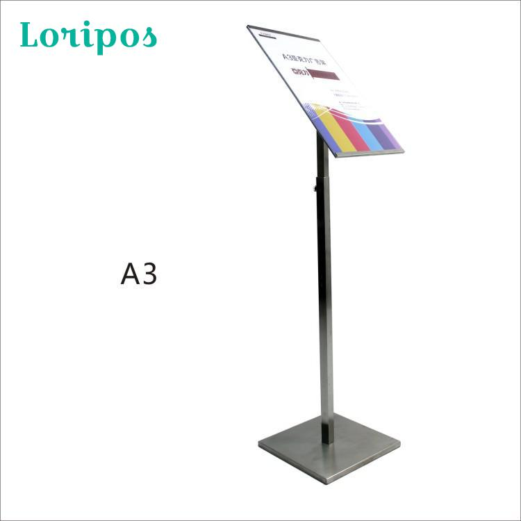 A3 Size Metal Advertising Poster Display Floor Standing Signage Stainless Steel POP Banner Display Standing Menu Sign Frames