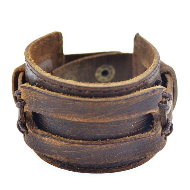 Leather Bracelets Black Brown Handmade Style