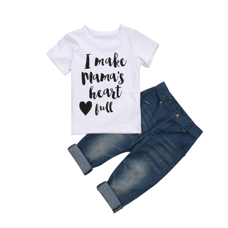 Baby Boy Tops T-shirt+Denim Jeans Pants 2Pcs 2017 New Bebes Summer Baby Boy Clothes Set Casual Children Outfit Kids Clothing Set 2018 kids girls clothes set baby girl summer short sleeve print t shirt hole pant leggings 2pcs outfit children clothing set