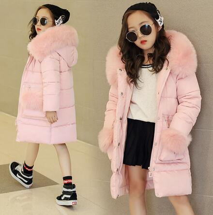 Girls Winter Jackets 2017 Children Winter Clothes Girl Coats Warm Fur Collar Hooded long down Coats For Kids Outerwear