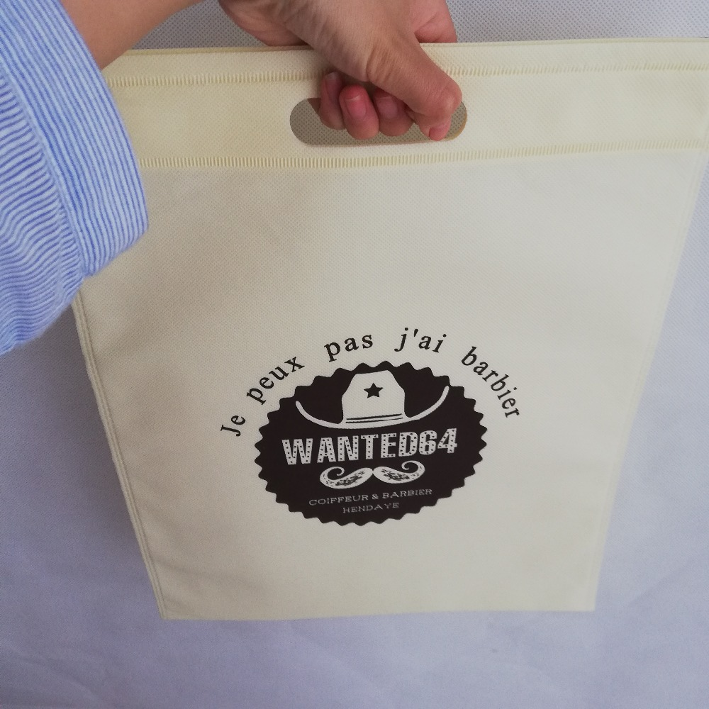 1000pcs lot Medium Size 40Hx30cm Promotional Custom Reusable Bag Non Woven Shopping Gift and Promotion Bags