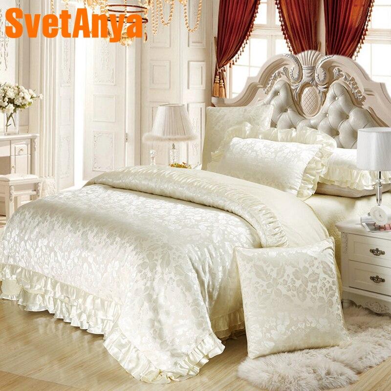 Svetanya raso di Seta misto cotone lusso set biancheria da letto king size queen trapuntato Federa Foglio di copripiumino set di nozze