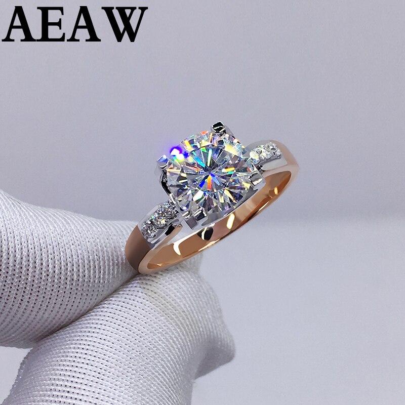 3 Carat Wedding 100% Moissanite Diamond Ring Genuine 18K 750 Yellow Gold White Gold D color