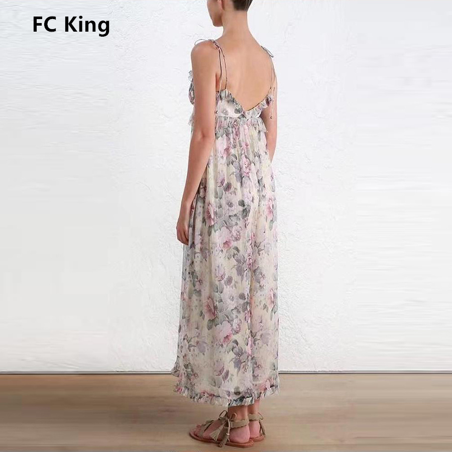 FC King Summer New Fashion Jumpsuits Floral Print Sexy Spaghetti Strap Rompers Lady Jump ...