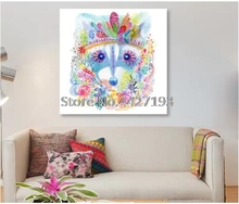 5D Diamond Mosaic Colorful Wolf Pattern Full Square Embroidery Diy Painting Decoration Watercolor animal