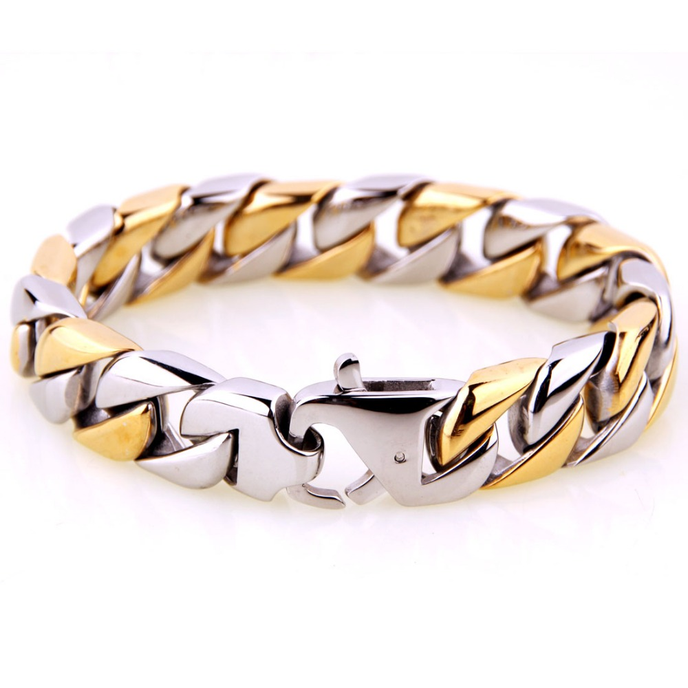 15mm Fashion 316L Stainless Steel Silver Gold Tone Cuban Curb Chain Men's Bracelet Bangle Biker Jewelry 8.46″ Christmas Gift