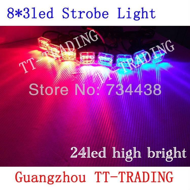 8x3led Car Strobe Lights 24LED Warning Lights high power Police grille Light led flash lamp DC12V RED BLUE AMBER WHITE