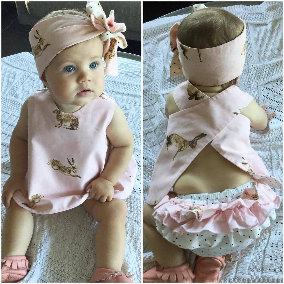 0-2Year fashion Newborn Baby Girls Clothes cute pink rabbit Tops+ Pants+Headband 3pcs suit summer baby  girls clothing sets azel elegant latest new child dress for 2 3 year old girls vestidos fashion summer kid clothing little girls daily clothes 2017