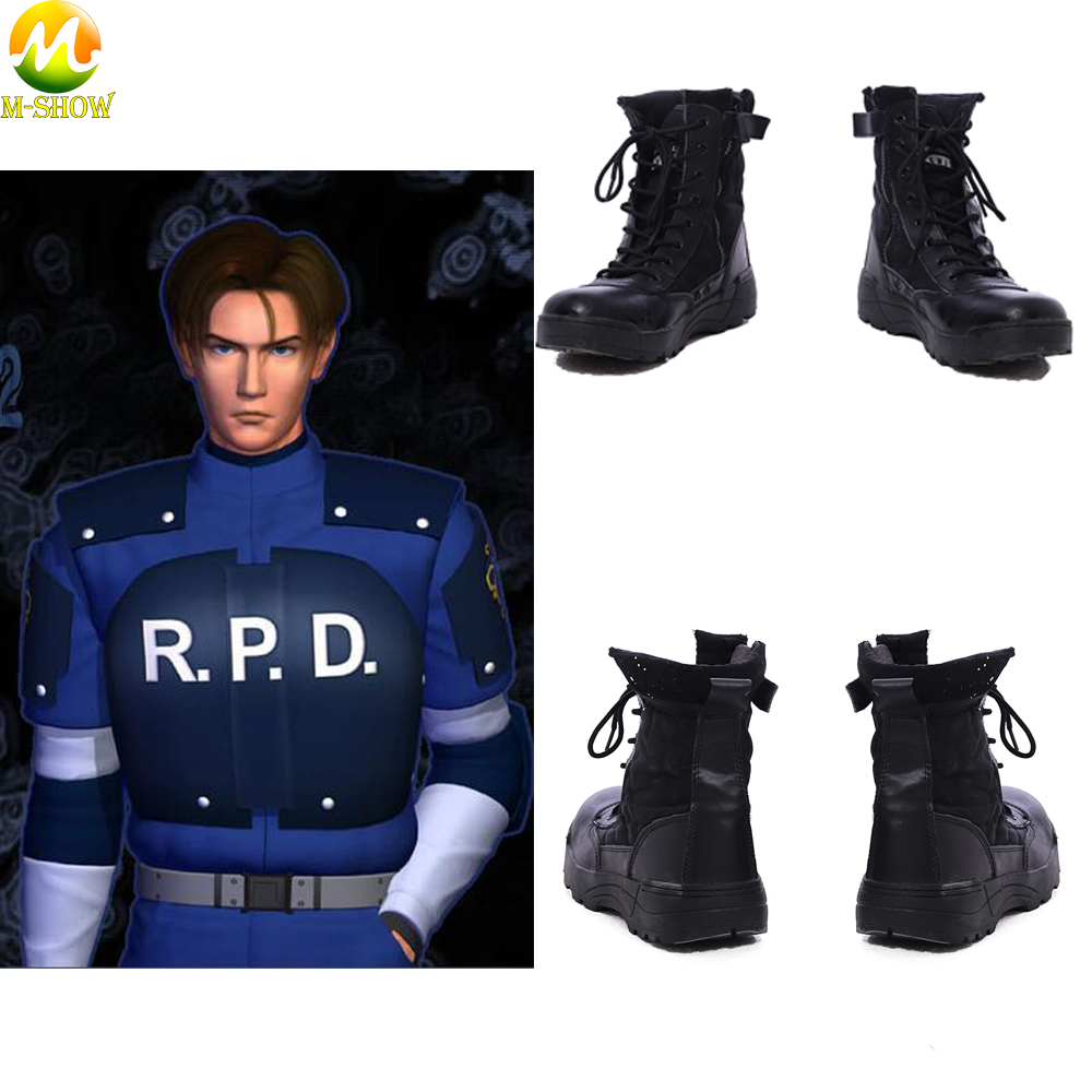 Resident Evil 2 Leon Scott Kenned Cosplay Boots Game Black Martin Boots Boots Halloween Costume Boots For Adult Men