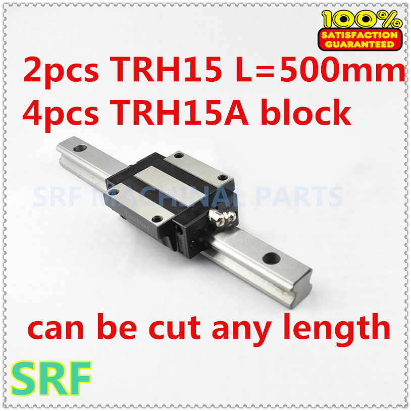цена на 2pcs Linear Guide Rail TRH15 L=500mm 15mm width +4pcs TRH15A Linear Rail Flange block for cnc