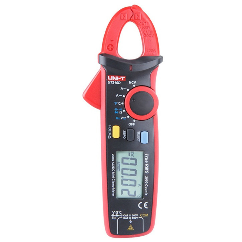 UNI T UT210D Digital Clamp Meter Multimeter AC DC Current Voltage Resistance Capacitance Temperature Measurement Auto
