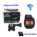 Free shipping!! Original AT300 Plus WiFi 4K Full HD 1080P with Remote Control Helmet Action Camera +Extra 1pcs battery