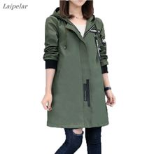 New Spring Autumn Trench Coat Women Causal Long Sleeve With Hood Medium Long Arm