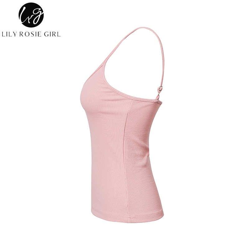 Lelie Rosie Meisje Sexy V-hals Roze Solid Vrouwen Camis 2018 Zomer Backless Rode Vrouwelijke Tops Wit Crop Tanks Top club Party camis