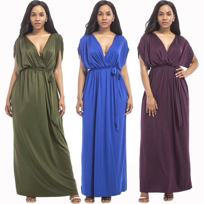 Jessie Vinson Elegant Women Plus Size Deep V-neck Short Bat-wing Sleeve Solid Maxi Dress Floor-length Evening Long Dress