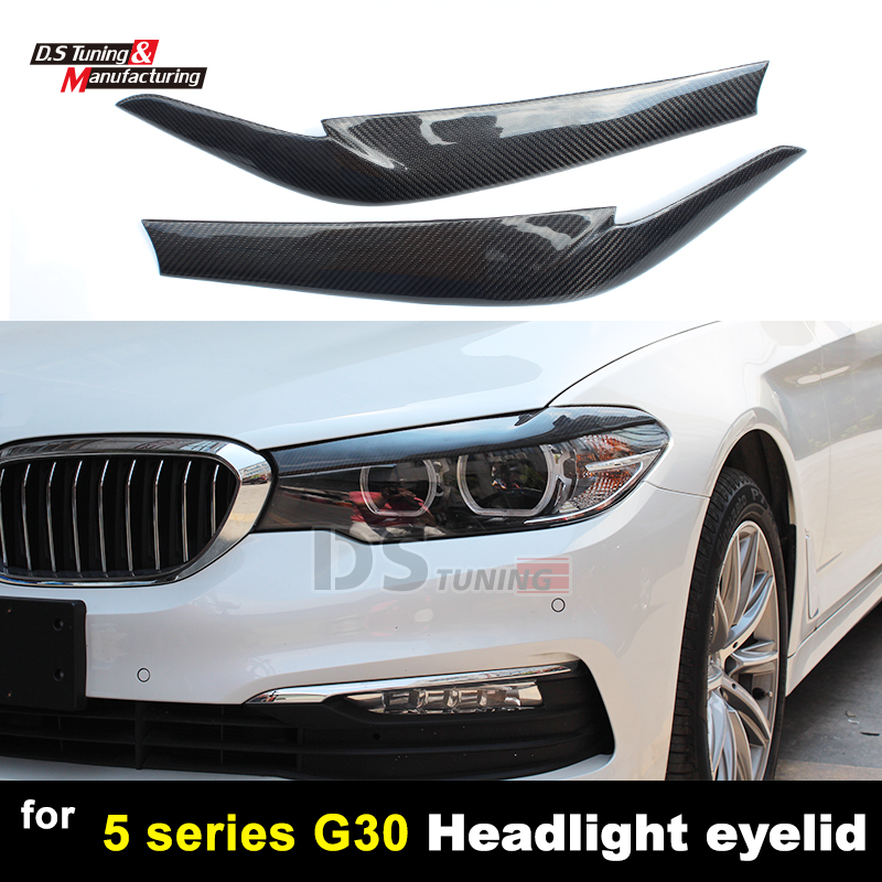 G30 Carbon Fiber 2pcs Headlight Eyelids Eyebrows Covers Trim For BMW 5 Series G30 Sedan 2017 + dc shoes полуботинки dc switch s lite m shoe bcg мужские black charcoal 9 5