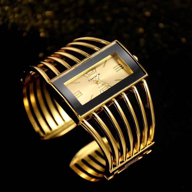Women Fashion Watch Top CANSNOW Brand Golden Bracelet Ladies Watch Clock For Women relojes saat relogio feminino zegarek damski stylish golden hollow rounded rectangle hasp bracelet for women