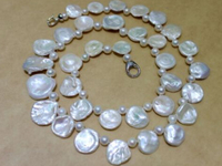 Jew3108 Beautiful Freshwater pearl necklace Petals white Unique 28 INCH AAA