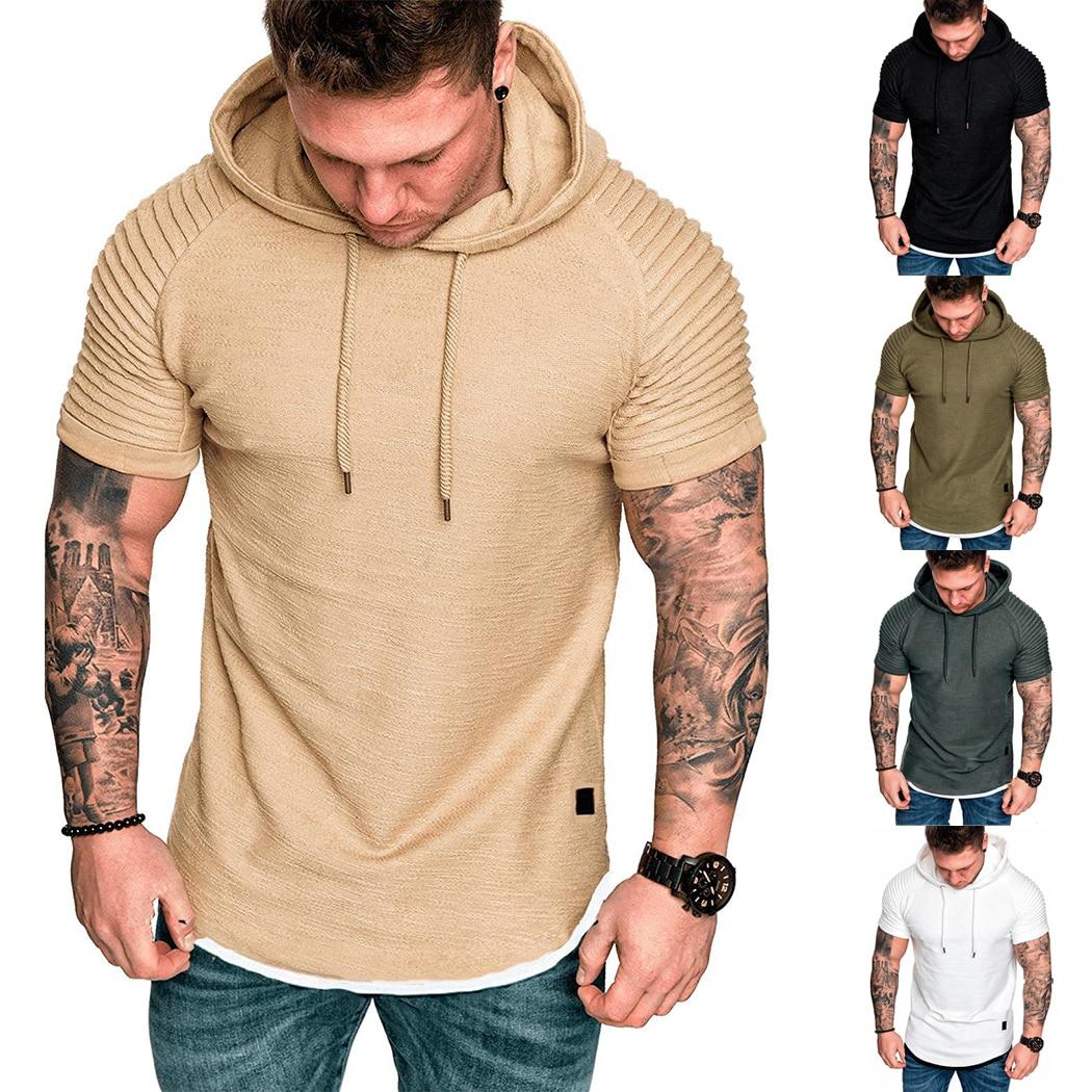 Mens T Shirts with Hoodie Fashion Men Casual Mesh Shirts Short Sleeve Muscle T-Shirt Slim Tees Tank Tops Beach Blouse