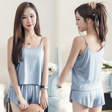 Tropical Solid Polyester Pajama Set Women Summer Casual Sleeveless Spaghetti Strap Sleepwear Cute Fresh Girls Nightwear