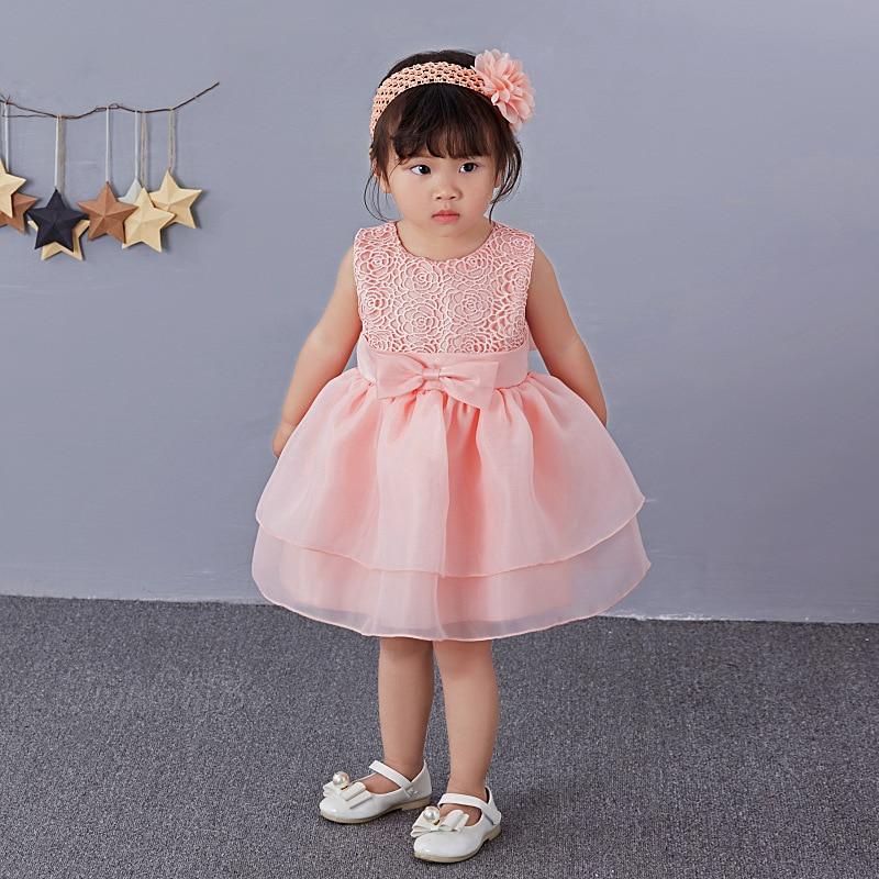 Pink 1 Year Old Baby Girl Dress Princess Wedding Birthday -3310
