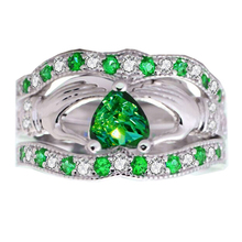 Fashion 3pcs  Green Crystal Rings Jewelry Hands Holding Heart Ring Set For Women Wedding Engagement Ring Jewelry L3K666 luxury heart gold wedding ring set cz pave crystal rings for women fashion jewelry couple love ring men engagement gift o3m039