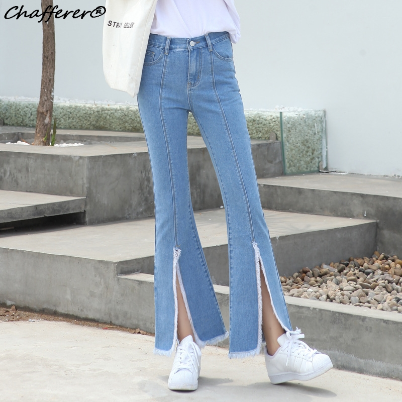 Chafferer Autumn Fashion High Waist Ripped Jeans For Women Stretch Skinny Flare Pants Below Split Mujer Slim Denim Pants 2017 markslojd подвесная люстра markslojd vinga 104652