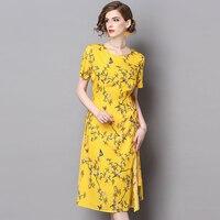 ชุดฤดูร้อน2017สไตล์จีนพิมพ์ยาวริบบิ้นชุดชุดชีฟองหาดเหลืองซิปแยกเสื้อผ้าสำหรับผู้หญิงSZWL1707201