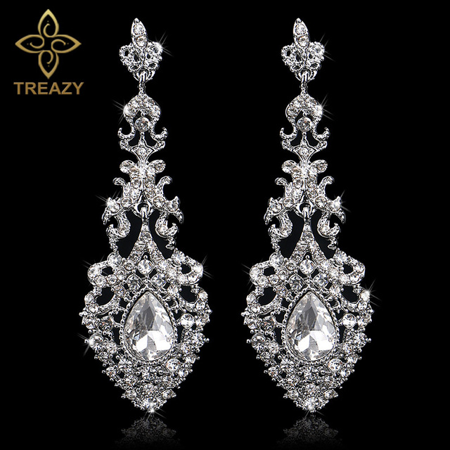 Treazy Elegant Jewelry Chandelier Crystal Bridal Drop Earrings Silver Color Long For Women Wedding Costume