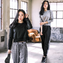 2018 New Casual Womens Sets Pants Running Sport Suits Workout Clothing Fitness Gym Tracksuit