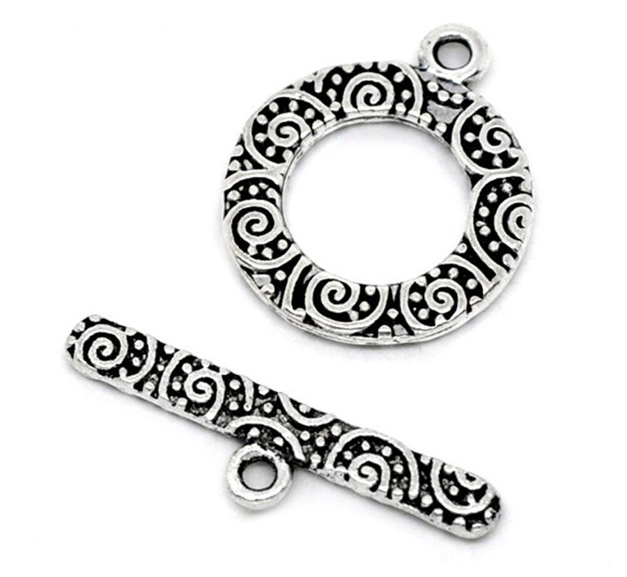 DoreenBeads Zinc Metal Alloy Toggle Clasps Round Silver Color Pattern Jewelry 19mm X16mm(6/8