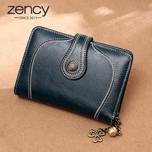 زنسي 100% جلد طبيعي بسيط محفظة صغيرة للنساء حقيبة يد عالية الجودة سعة كبيرة عملة جيب حامل بطاقة براون