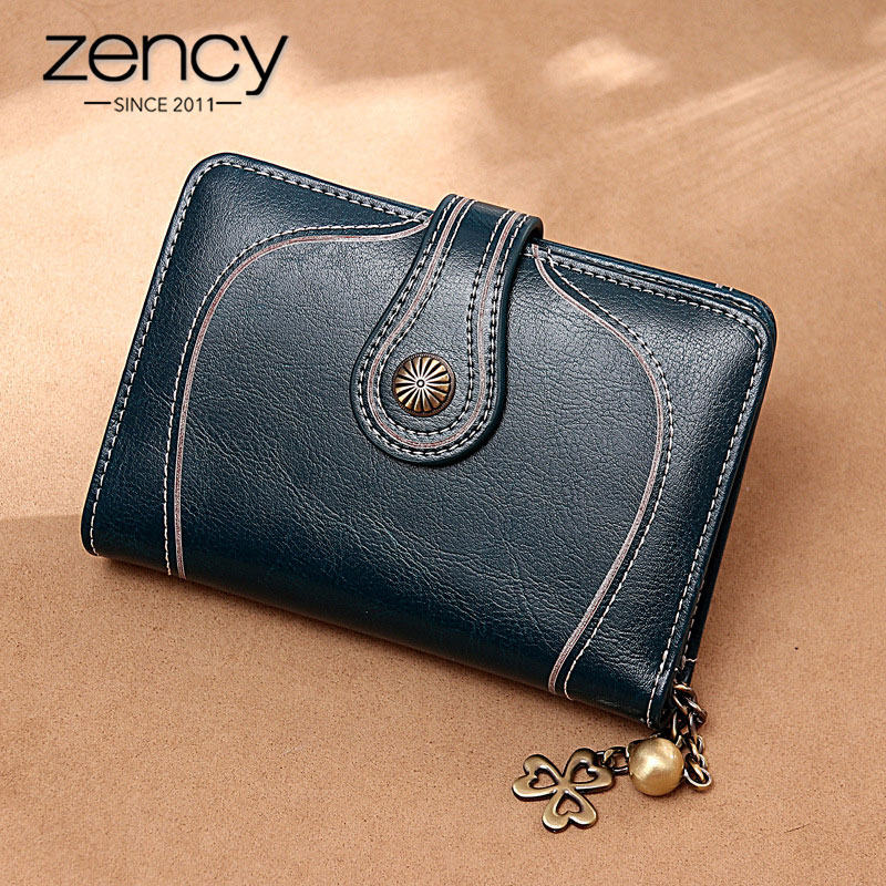 Zency 100% Genuine Leather Simple Short Wallet For Women High Quality Clutch Purse Large Capacity Coin Pocket Card Holder Brown