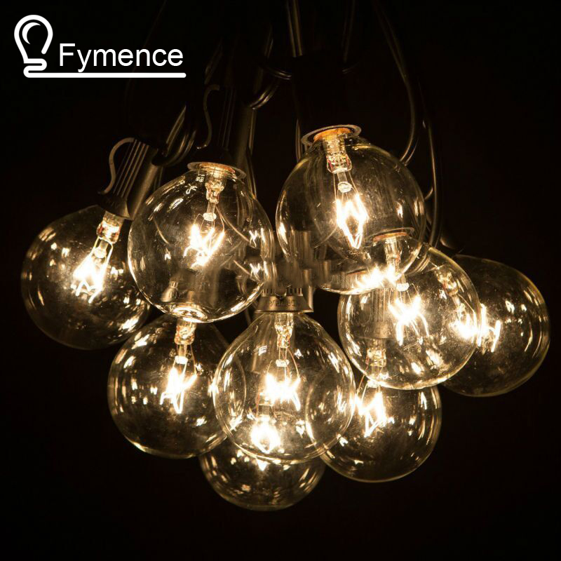 50Ft Globe String Lights G50 50 Clear Globe Bulbs 220/110V Black Wire, UL Listed, Indoor/ Outdoor Patio String Light, Extendable waterproof 9m vintage patio globe string lights black cord clear glass bulbs 30 decorative outdoor garland wedding