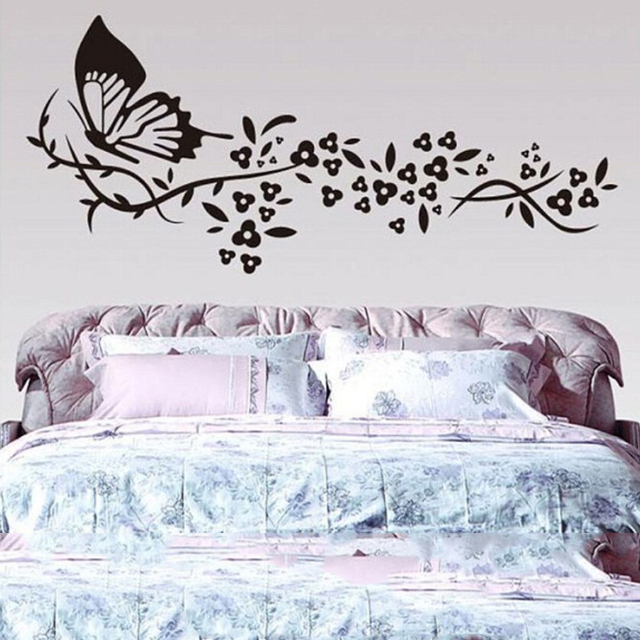Large black butterfly wall stikers for bedroom removable home ...