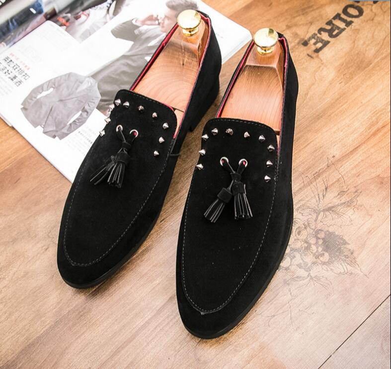 Couro Homens Mocassins Rebite Oxfords Tamanho Partido Handmade Prom 38 Sapatos Black Designer Borla grey 45 Grande Mens Cinza De Camurça ryrYd4qw