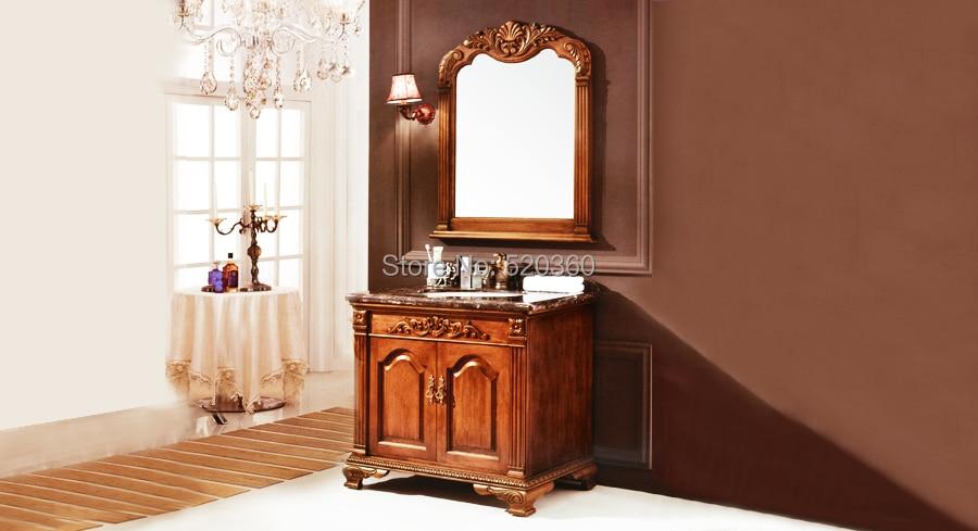 black green oak, dark brown marble cabinet and mirror, Bathroom Vanities