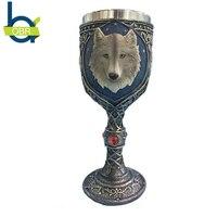 OBR 3D Cartoon Wolf King Beer Mugs Resin+Stainless Steel Coffee Tea Mug Beer Goblet Water Tumbler Cups Home Bar Drinkware