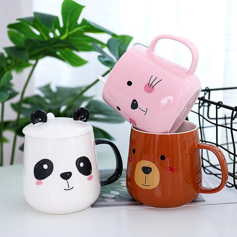 Creative Cartoon Panda Mug With Lid Ceramic Mug,lovers Cup Flower Tea Set Coffee Cup, Water Milk Coffee Drinkware For Gift