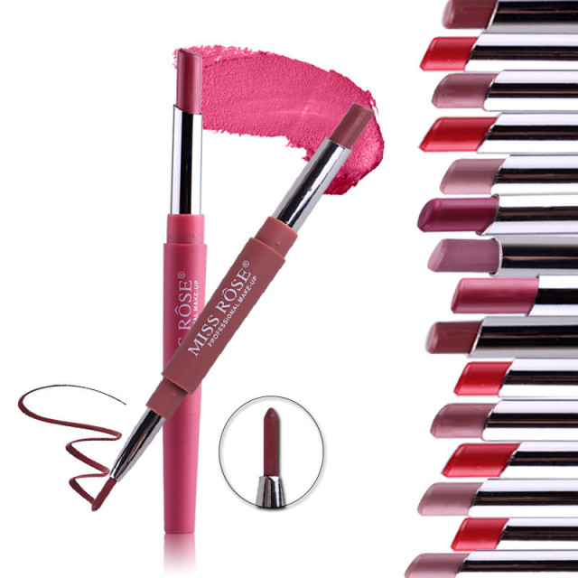 Professional Makeup Double-end Liplipstick Pencil Waterproof Long Lasting Tint Sexy Red Lip Velvet Matte Liner Pen Lipstick Set 2