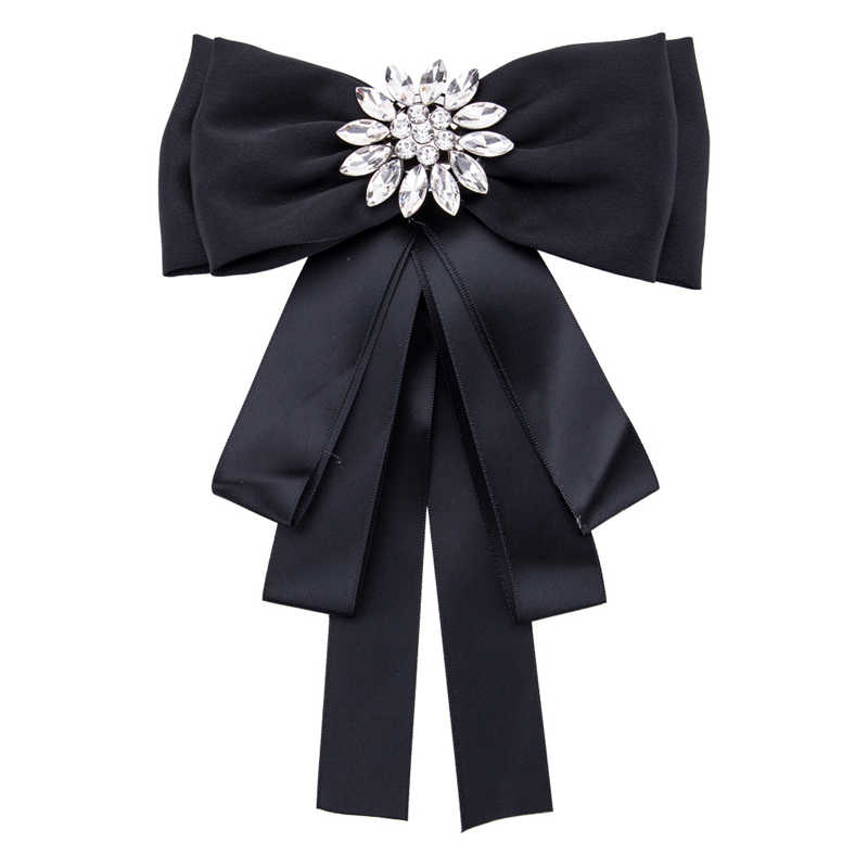 e4fd420c74a Fashion Silk Ribbon Bow Broches For Women Shirts Collar Corsage Jewelry  Austrian Crystal Bowknot Bow Tie
