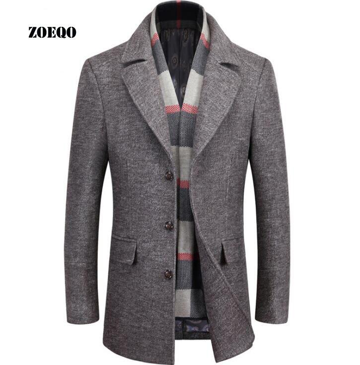 ZOEQO สินค้าใหม่คุณภาพสูงเสื้อขนสัตว์ผู้ชายผ้าขนสัตว์ Coat Slim Fit แจ็คเก็ตบุรุษ Mens Casual Outerwear แจ็คเก็ต M 4XL ขนาด-ใน แจ็กเก็ต จาก เสื้อผ้าผู้ชาย บน   1