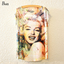 BLACK Brand Hot 2016 New Arrival Womens Summer T shirt Casual Batwing Sleeve Loose Marilyn Monroe Face Printed T-shirt