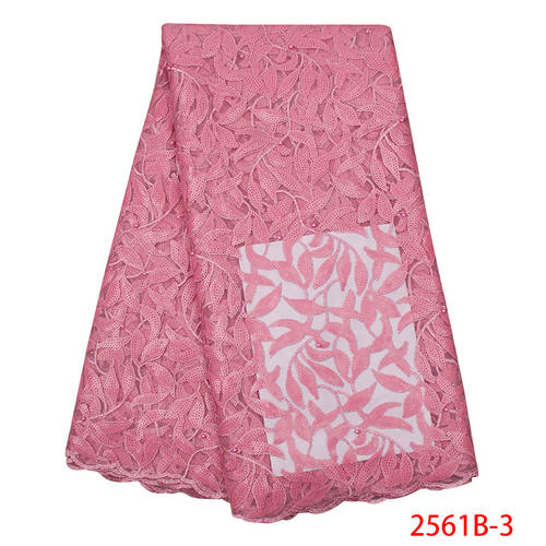 2019 Newest High End Lace Fabric Bridals Wedding Hot Pink Lace Fabric African Shiny Sequins Tulle Lace Fabrics 2019 QF2561B-3