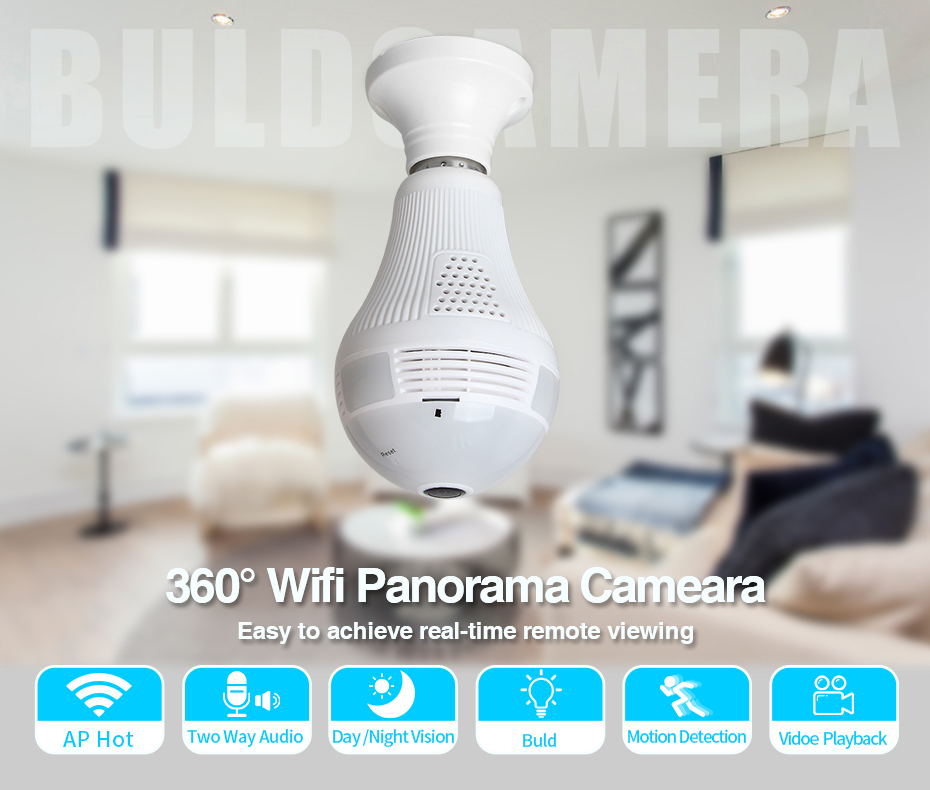 960P Fisheye Ip Camera Wireless Wifi Camera Home Security WiFi Fisheye Camera Bulb Lamp IP Camera 360 Degree Home Security CM.V2