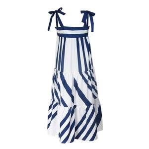 Image 3 - Twotwinstyle listrado cinta de espaguete longo vestidos femininos casuais fora do ombro para trás menos laço até roupas femininas 2020 moda