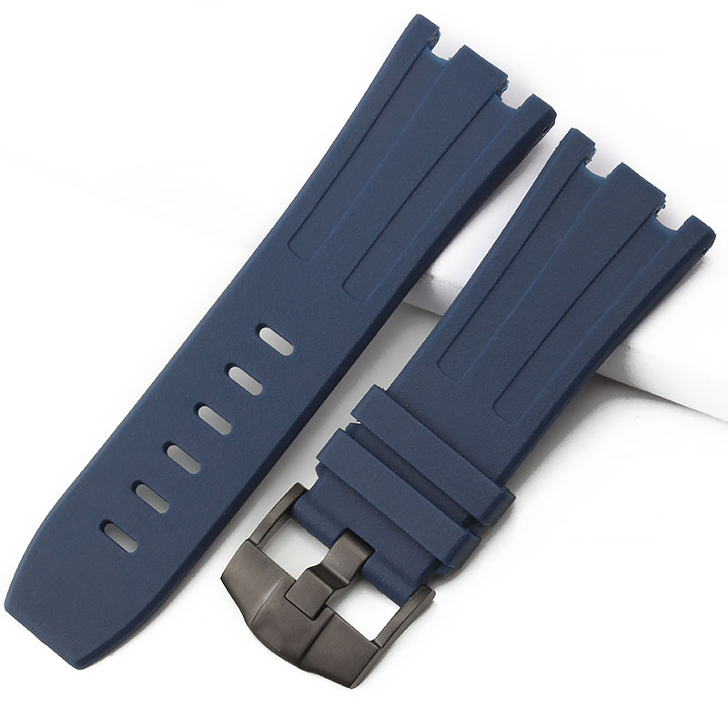28mm Dark blue Waterproof nature Rubber silicone Watchband Men Sport <font><b>Watch</b></font> Strap <font><b>Band</b></font> For <font><b>AP</b></font> <font><b>Watch</b></font> Audemars And Piguet With LOGO image
